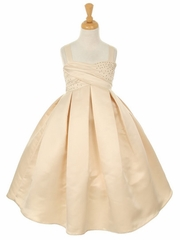 Champagne Satin Dress w/ Rhinestone Accents