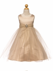 Champagne Satin & Tulle Dress w/ Rhinestone Brooch