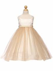 Champagne Satin & Tulle Dress w/ Sash