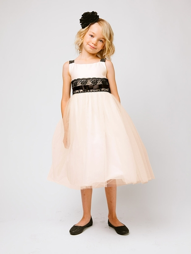 Champagne Satin & Tulle Lace Dress