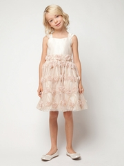 Champagne Satin w/ Rose Vine Mesh Vintage Dress