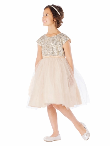 Champagne 2 Tier Tulle Dress w/ Sequin Top