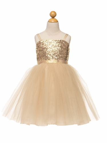 Champagne Sequined Bodice w/ Tulle Skirt & Sash