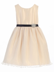 Champagne Sleeveless Dress w/ Pleated Organza Skirt