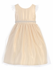Champagne Tulle Dress w/ Flutter Sleeve