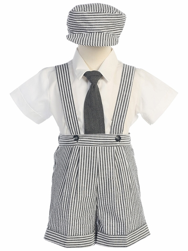 Charcoal Seersucker Suspender Shorts & Hat