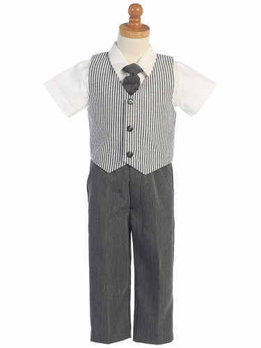 Charcoal Seersucker Vest & Pants Set