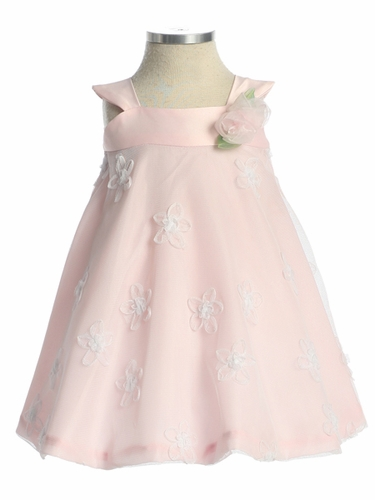 Charmeuse w/ Flower Embroidered Mesh and Organza Trim