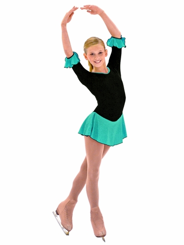 "ChloeNoel 3/4"" Sleeve Fleece w/ Teal Sparkle Dress"