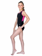 ChloeNoel Black Body w/ Fuchsia Back Top & Binding Leotard