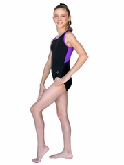 ChloeNoel Black Body w/ Purple Back Top & Binding Leotard