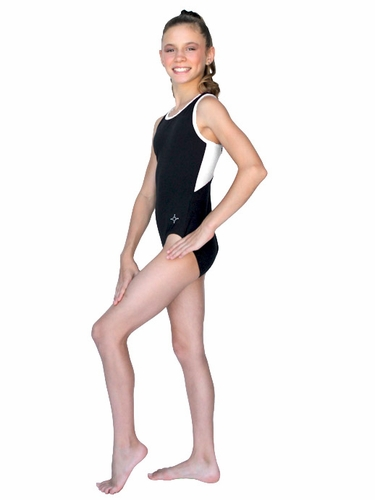ChloeNoel Black Body w/ White Back Top & Binding Leotard