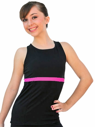 ChloeNoel Black/Fuchsia Racer Back Fitted Skate Top
