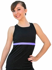 ChloeNoel Black/Purple Racer Back Fitted Skate Top