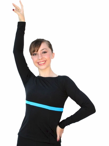 ChloeNoel Black/Turquoise Boat Neck L/S Fitted Skate Top