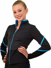 ChloeNoel Black/Turquoise Pipings Swirl Jacket w/ Color Zipper