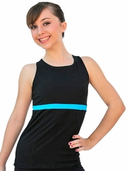 ChloeNoel Black/Turquoise Racer Back Fitted Skate Top