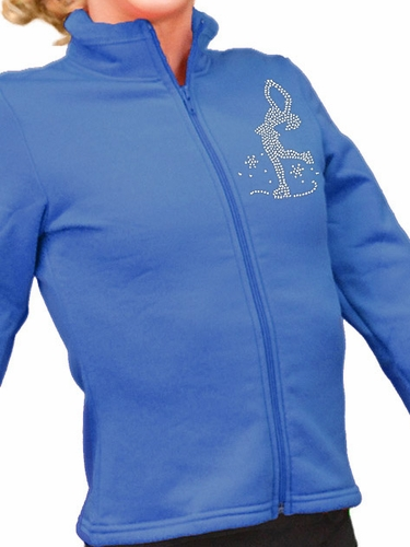 ChloeNoel Blue Polar Fleece Fitted Jacket w/ Custom Crystal Design