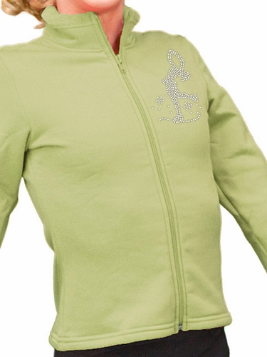 ChloeNoel Grass/Turquoise 2-Tone Polar Fleece Fitted Jacket w/ Custom Crystal Design