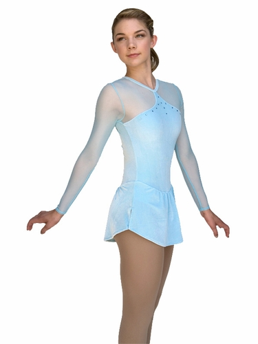 ChloeNoel Light Blue Velvet & Mesh Dress w/ Crystals