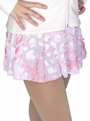 ChloeNoel Pink Velvet Skirt w/ Burn Out Lace