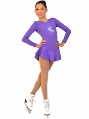 ChloeNoel Purple Long Sleeve Fleece Dress w/ Crystals