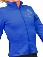ChloeNoel Royal Blue Polar Fleece Fitted Jacket w/ Custom Crystal Design