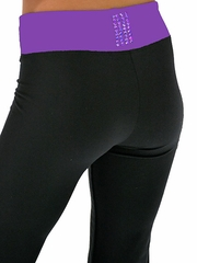 "ChloeNoel Supplex 3"" Waist Pants w/ Purple Swarovski Crystal Block"