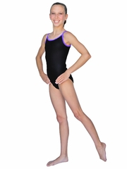 ChloeNoel Thin Straps Black Body w/ Purple  Binding Leotard