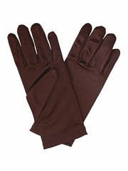 Chocolate Brown Short Satin Gloves