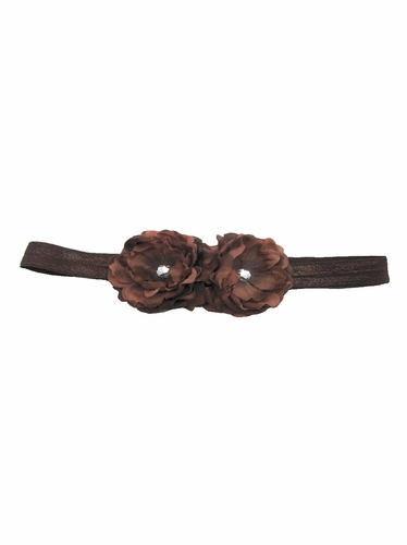 Chocolate Mini Peonies Elastic Headband