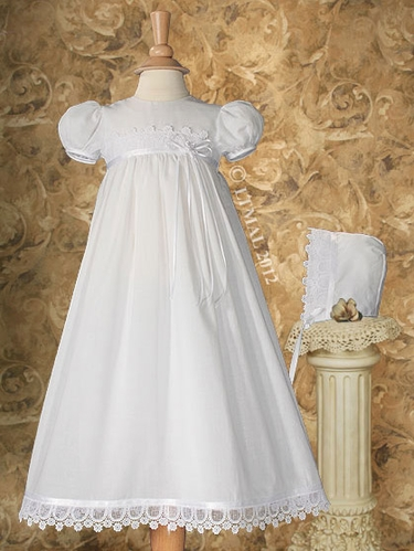 Christening 26� Dress Trimmed w/ Italian Lace & Ribbon