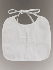 Christening Embroidered Cotton Bib