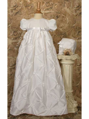 Christening Gown w/ Gathered Rosette Skirt & Organza Layered Bodice
