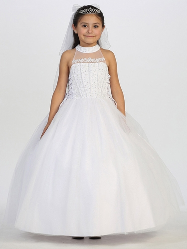Communion Dress w/ Illusion Tulle Neckline