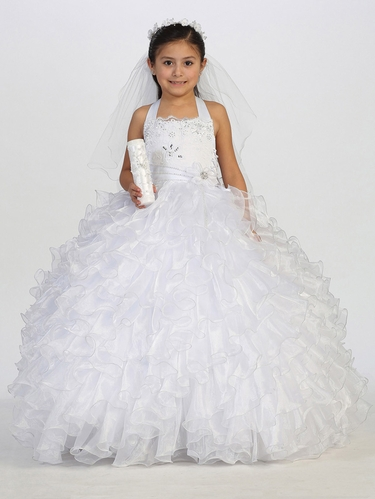 Communion Dress w/ Ruffle Organza Skirt