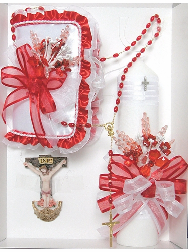 Confirmation Red Candle Gift Set - English