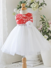 Coral Baby Tulle Dress w/ Floral Lace Bodice