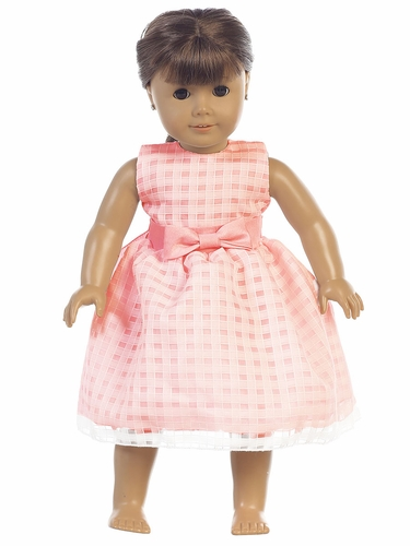 "Coral Basket Burnout Organza 18"" Doll Dress"