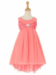 Coral Chiffon High Low Dress
