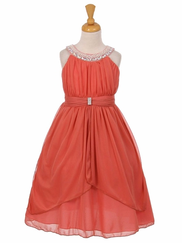 Coral Chiffon Pleated Jeweled Neckline Dress