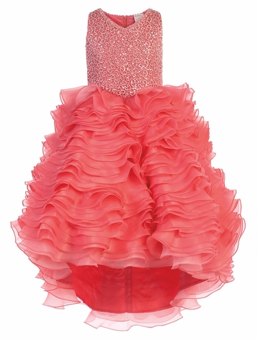 Coral Gwen and Zoe V-Neck Sparkle Ruffle High Low Dress