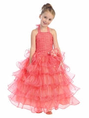 Coral Halter Dress with Ruffle Layers & Flower