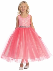 Orange &amp Coral Flower Girl Dresses - PinkPrincess.com