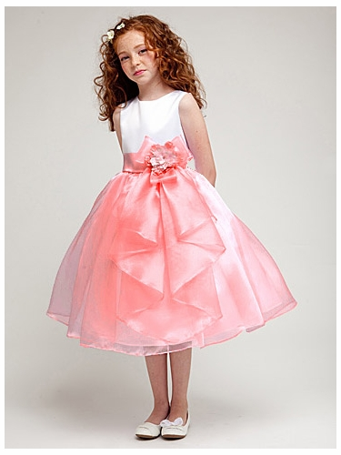 Coral Organza Skirt Dress w/ Bow & Flower