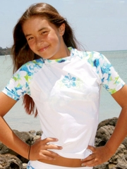 Coral & Reef Lime Light Short Sleeve Seamaid Swimsuit Top