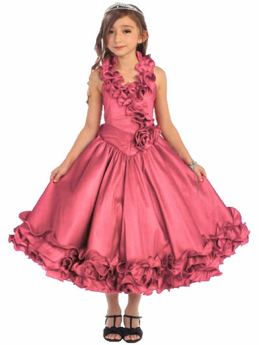 Coral Ruffle Halter Pageant Dress