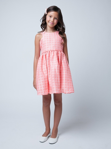 Peach Flower & Dot EmbCoral Sleeve Cut Out Floral Jacquard Dress