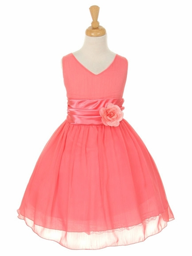 Coral Yoryu Chiffon Double V-Neck Dress