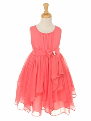 Coral Yoryu Chiffon Dress